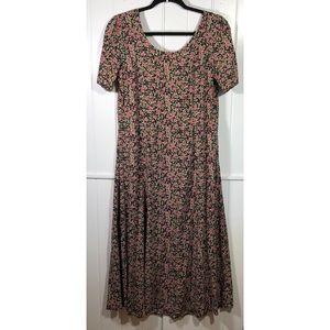 90's Rayon floral long dress grunge prairie